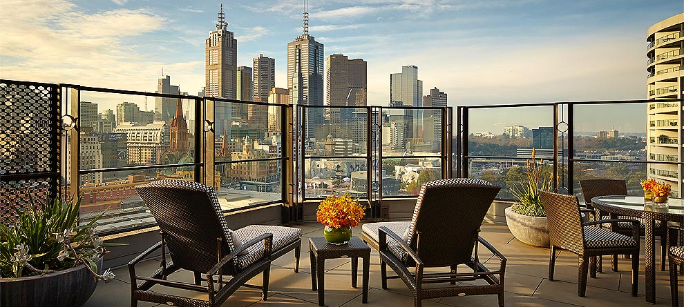View of the Melbourne CBD from Langham Hotel's terrace