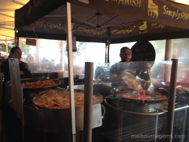 big pan paellas at South Melbourne Market