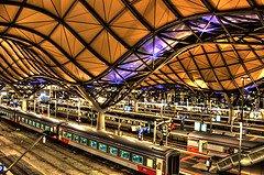Illuminated Southern Cross station