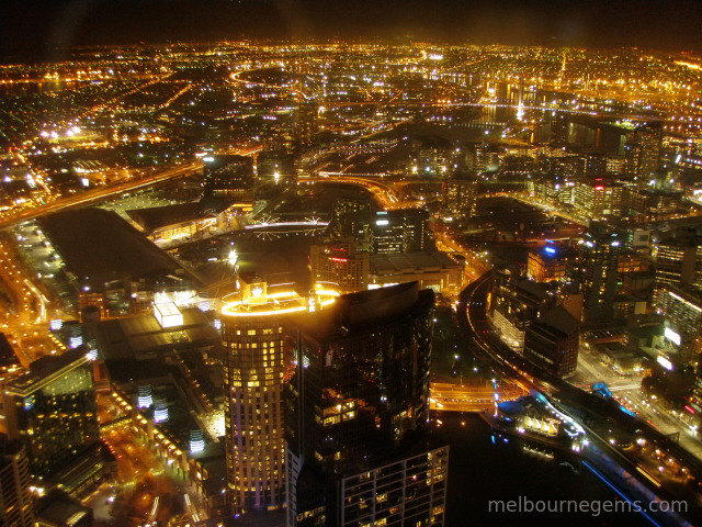 Melbourne CBD at night from the Eureka Tower