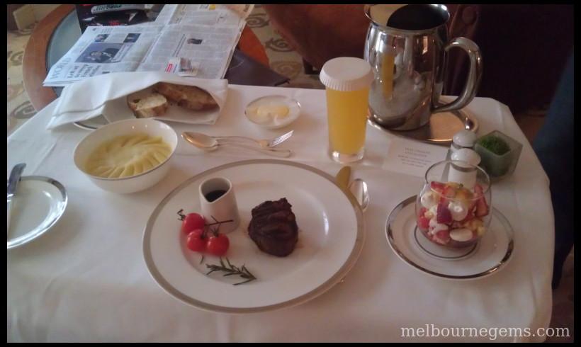Park Hyatt Melbourne in room dinner